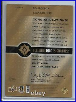 2009 Ultimate Bo Jackson & Zack Greinke Dual Autograph #d/33 Kansas City Royals