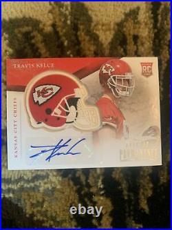 2013 Prominence Rookie Auto Helmet Card 111/200 Travis Kelce Kansas City Chiefs