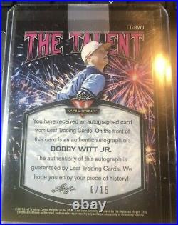 2019 KANSAS CITY ROYALS ROOKIE CARD! BOBBY WITT Jr! PURPLE REFACTOR! AUTO 6/15