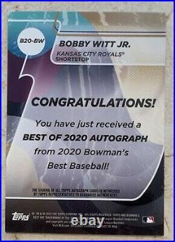 2020 BOWMANS BEST BOBBY WITT JR. PROSPECT AUTO REFRACTOR /99 Kansas CITY ROYALS