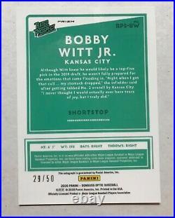 2020 Donrus Optic Bobby Witt Jr Auto Red Parallel #29/50 MINT Kansas City
