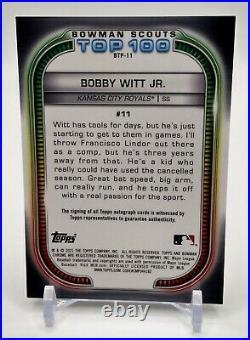 2021 Bowman Scouts Top 100 Bobby Witt JR. Auto 33/50 Kansas City Royals