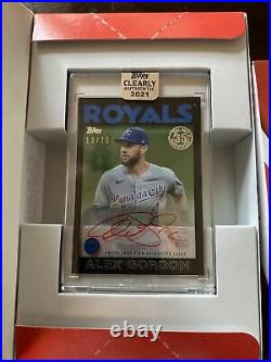2021 Topps Clearly Authentic Alex Gordon /75 On-card Auto Sp Kansas City Royals