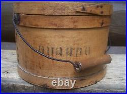 Antique Armour Kansas City Mo Dubuque Ia Wooden Finger Lap Stencil Firkin Bucket