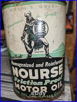 Antique Nourse Motor Oil Green Metal Can 1 Quart Kansas City MO Viking