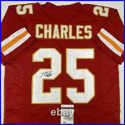 Autographed/Signed JAMAAL CHARLES Kansas City Red Football Jersey JSA COA Auto