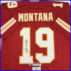 Autographed/Signed JOE MONTANA Kansas City Red Football Jersey JSA COA Auto