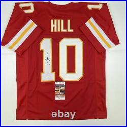 Autographed/Signed TYREEK HILL Kansas City Red Football Jersey JSA COA Auto
