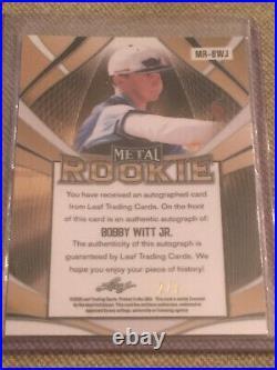 BOBBY WITT JR 2020 Leaf Metal Rookies Autograph #2/7 KANSAS CITY ROYALS