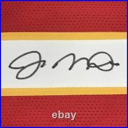 FRAMED Autographed/Signed JOE MONTANA 33x42 Kansas City Red Jersey JSA COA Auto