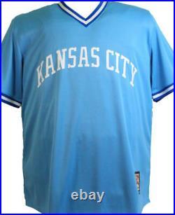 George Brett Autographed Kansas City Royals Blue Majestic Jersey- Beckett W Auth