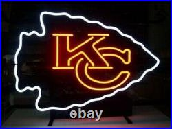 KC Kansas City Chiefs Neon Light Sign 20x16 Beer Cave Gift Real Glass