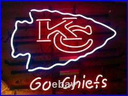 Kansas City Chiefs Go Chiefs Bar Lamp Glass Beer Neon Light Sign 20x16
