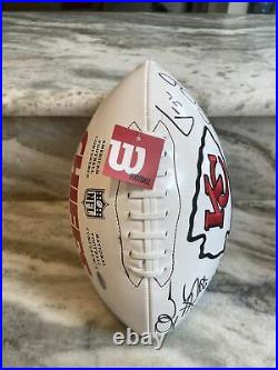 Kansas City Chiefs Mahomes Kelce Hill Reid Team Signed Football COA