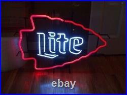 Kansas City Chiefs Miller Lite Neon Light Sign 17x14 Wall Decor Glass Bar Beer