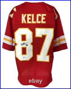 Kansas City Chiefs Travis Kelce Autographed Pro Style Red Jersey BECKETT Auth