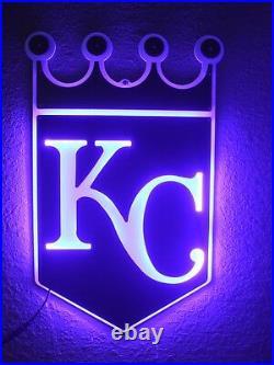 Kansas City Royals Led Neon Bar Sign Kc Light Baseball Man Cave Garage