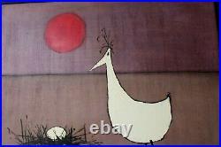 Mid Century Modern Oil painting listed artist Bob Mildrexler Duck Egg 1963