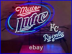 Miller Lite Kansas City Royals KC Royals Neon Light Sign 24x20 Lamp Beer Bar