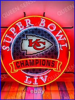 New Kansas City Chiefs Champions Lamp Neon Light Sign 24x24 HD Vivid Printing