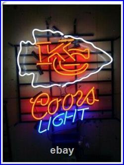 New Kansas City Chiefs Coors Light Neon Sign 24x20 Lamp Poster Real Glass
