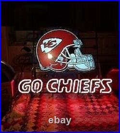New Kansas City Chiefs Helmet Go Chiefs Beer Bar Neon Light Sign 24x20