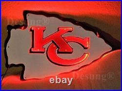 New Kansas City Chiefs KCC Football LED Light Neon Sign 17 Lamp Decor Bar Wall