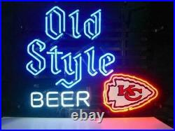 New Kansas City Chiefs Old Style Beer Beer Neon Light Sign 20x16