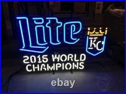 New Miller Lite Kansas City Royals 2015 World Champions Neon Sign 17x14