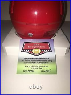 Patrick Mahomes Autographed, Signed Kansas City Chiefs Speed Mini Helmet. Coa