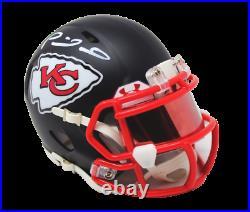Patrick Mahomes Kansas City Chiefs Signed Flat Black Mini Helmet with UA Visor JSA