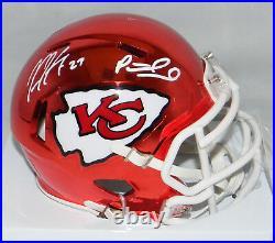 Patrick Mahomes Kareem Hunt Signed Kansas City Chiefs Chrome Mini Helmet Jsa