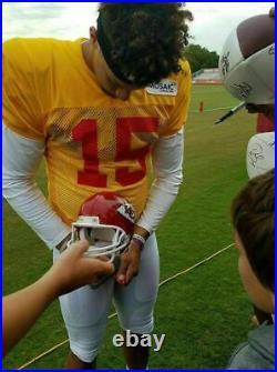 Patrick Mahomes Travis Kelce Tyreek Hill Signed Kansas City Chiefs Mini Helmet
