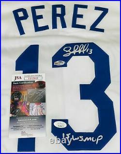 Salvador Perez Signed Kansas City Royals 2015 WS MVP White Jersey JSA COA