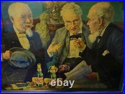 Scarce 1930s Vtg Muehlebach Pilsener Beer Sign Kansas City Mo 3 Old Men Bottles