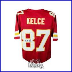 Travis Kelce Autographed Kansas City Chiefs Custom Red Football Jersey BAS COA