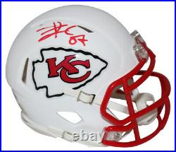 Travis Kelce Autographed Kansas City Chiefs Flat White Mini Helmet BAS 27659