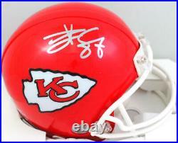 Travis Kelce Autographed Kansas City Chiefs Mini Helmet Beckett W Silver