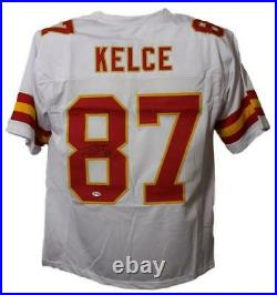 Travis Kelce Autographed Kansas City Chiefs Size XL White Jersey BAS 22490