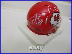 Travis Kelce Patrick Mahomes Tyreek Hill Signed Kansas City Chiefs Mini Helmet