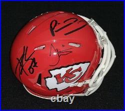 Travis Kelce Tyreek Hill & Patrick Mahomes Signed Kansas City Chiefs Mini Helmet