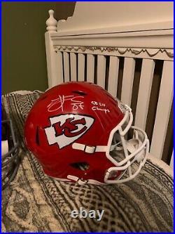Travis Kelce autographed full size helmet Kansas City Chiefs CERTIFIED speed rep