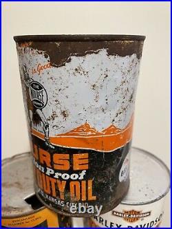 Vintage Nourse Qt Orange Motor Oil Can Metal Kansas City MO Viking Original